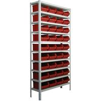 Стеллаж с пластиковыми контейнерами СТЯ 7962 -36 - 300 - 120 (200)